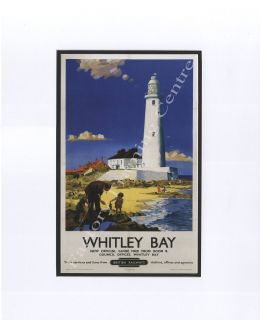 Whitley Bay Light House - Modern Railway Poster Style Mounted Print